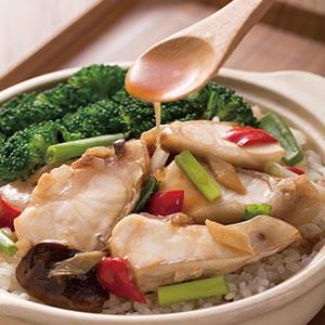 薑蔥魚腩煲飯