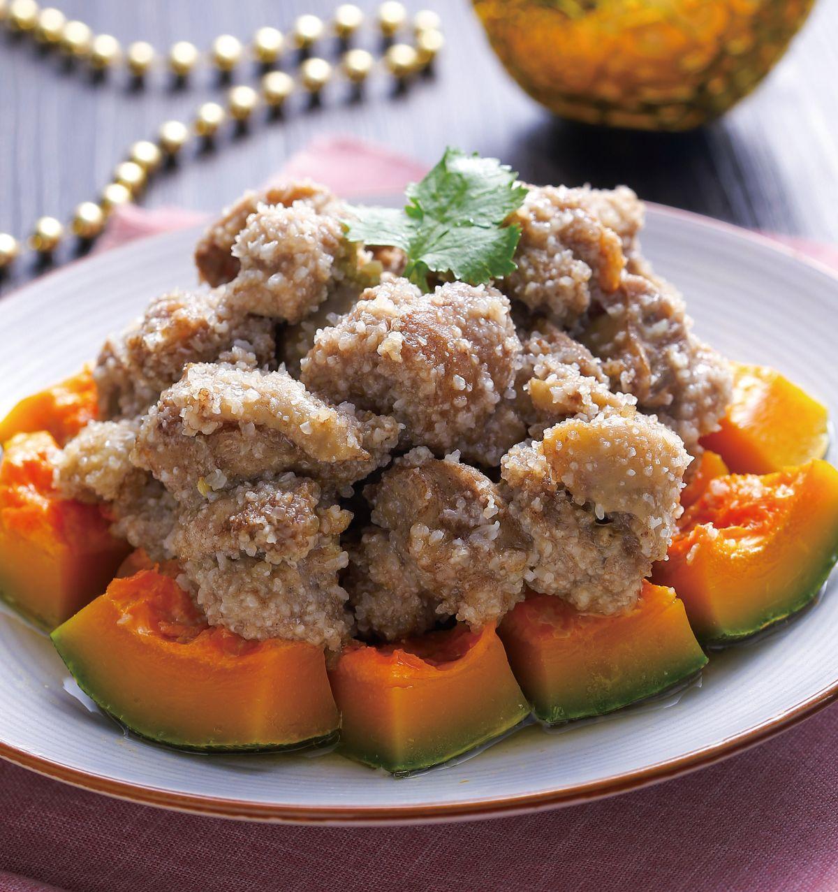 食譜:金瓜粉蒸雞球