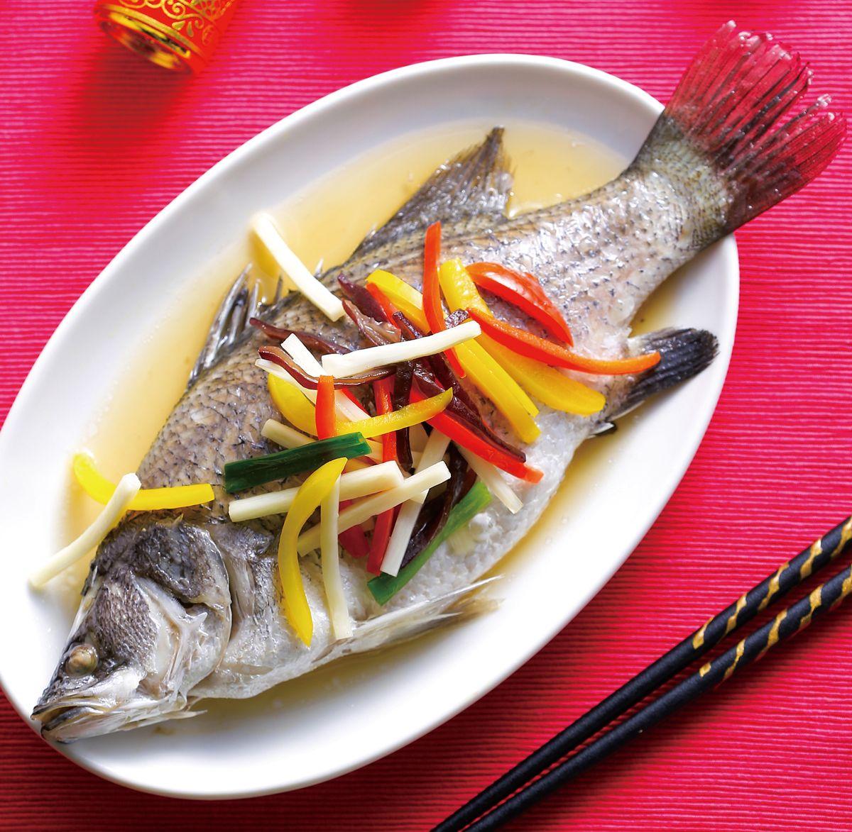 食譜:五彩蒸魚