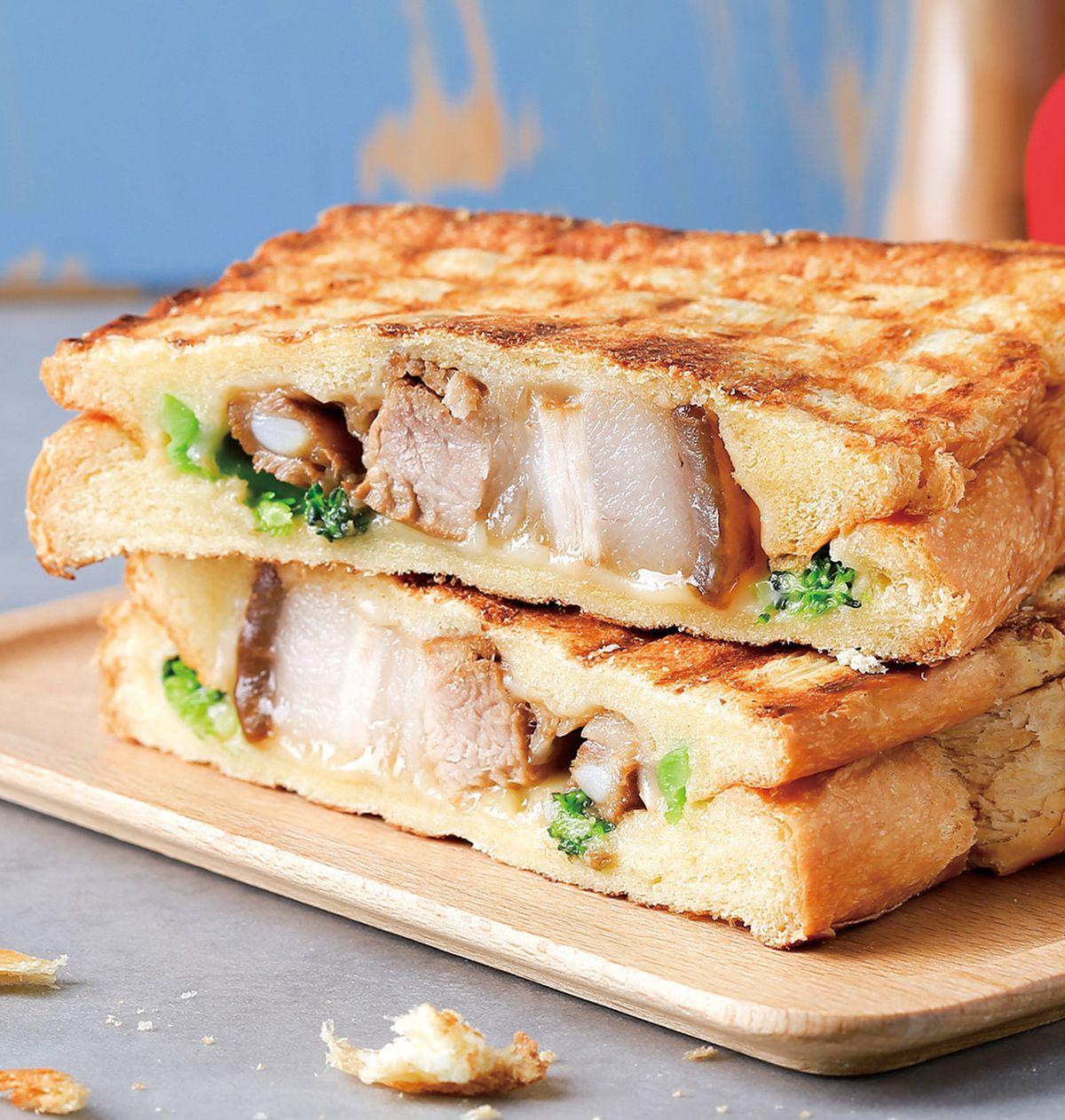 食譜:滷肉板烤熱三明治