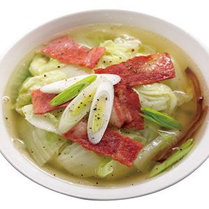 蒜苗培根白菜湯