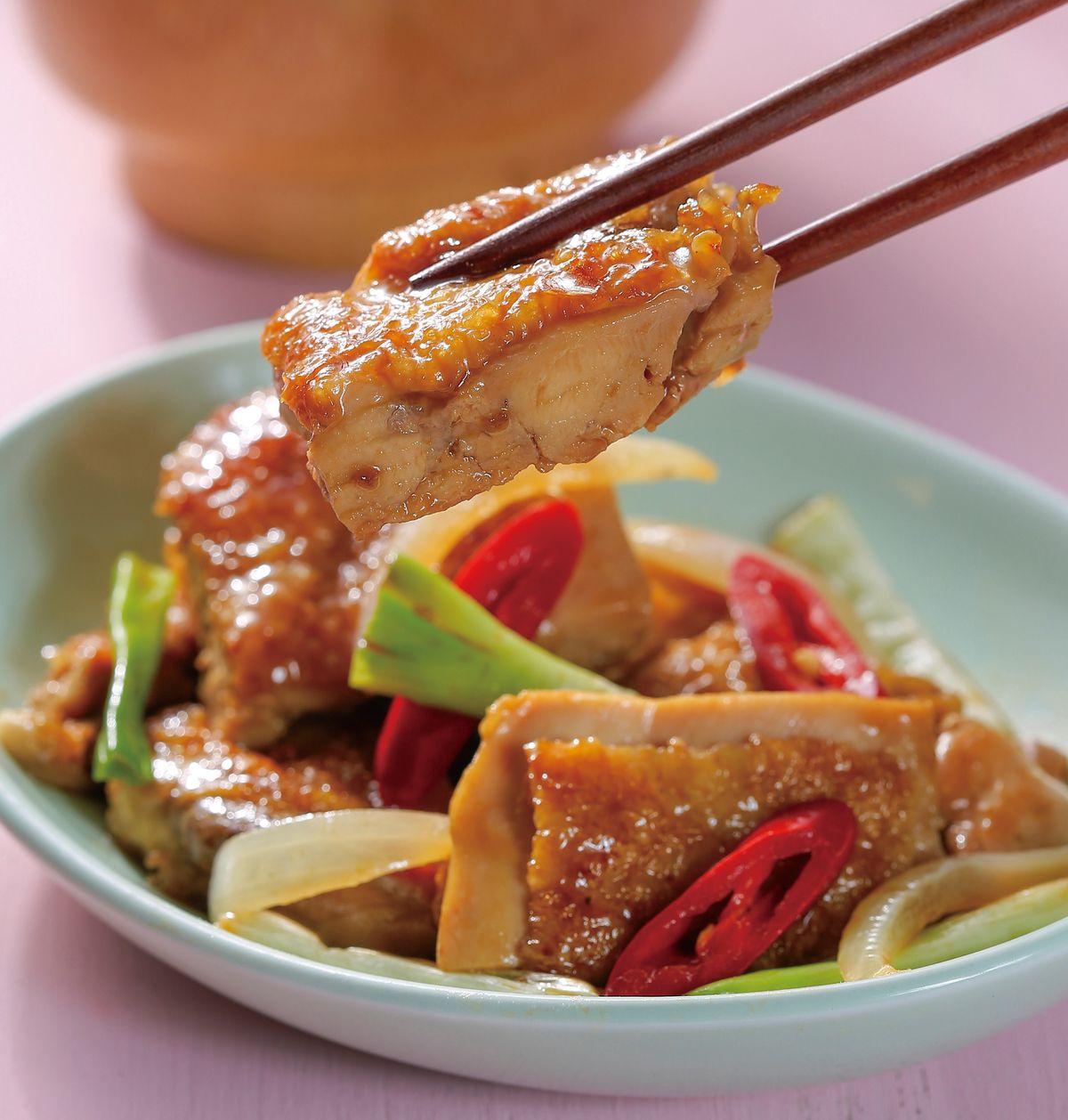 食譜:蔥燒雞排飯