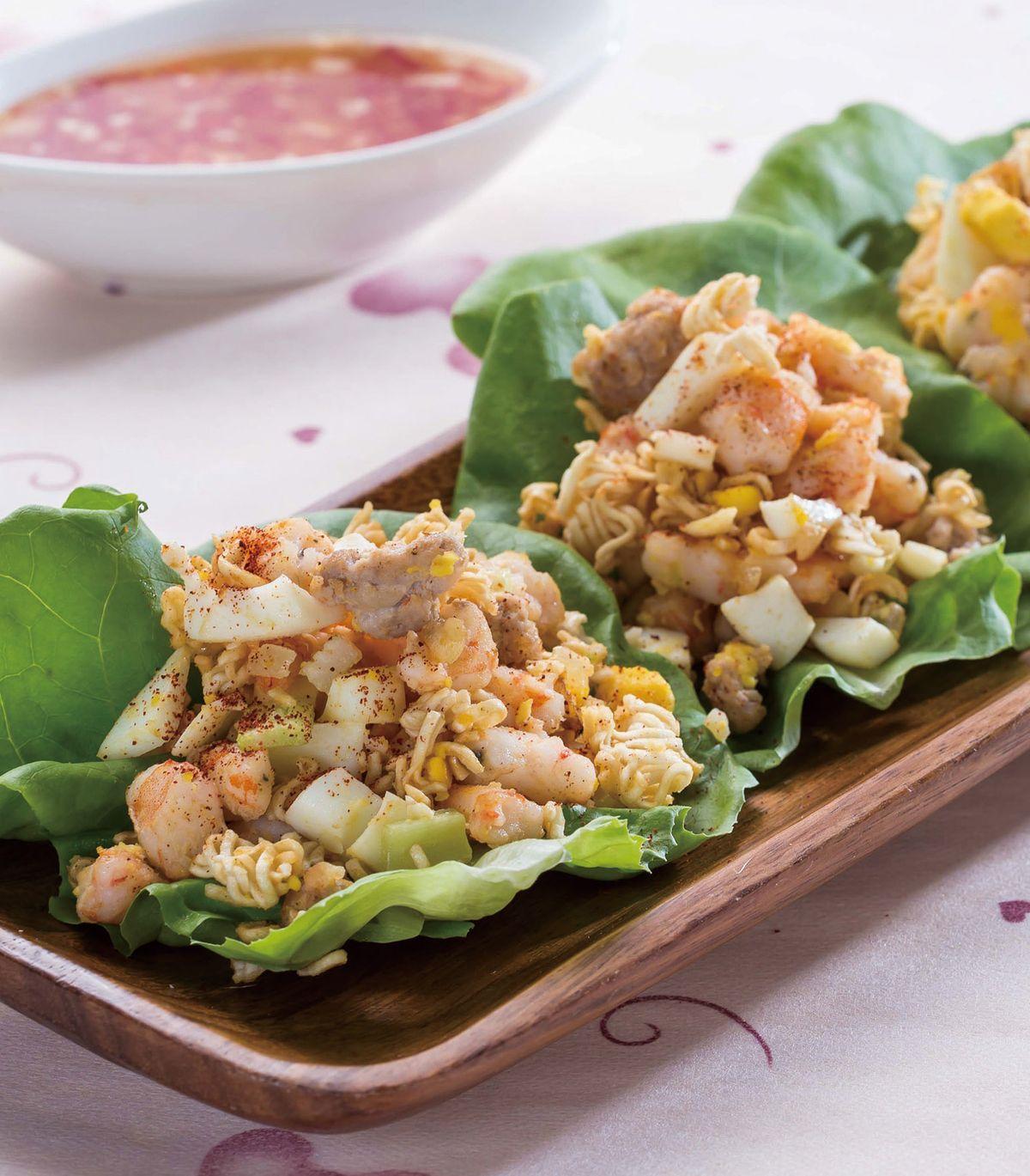食譜:水煮蛋科學麵蝦鬆