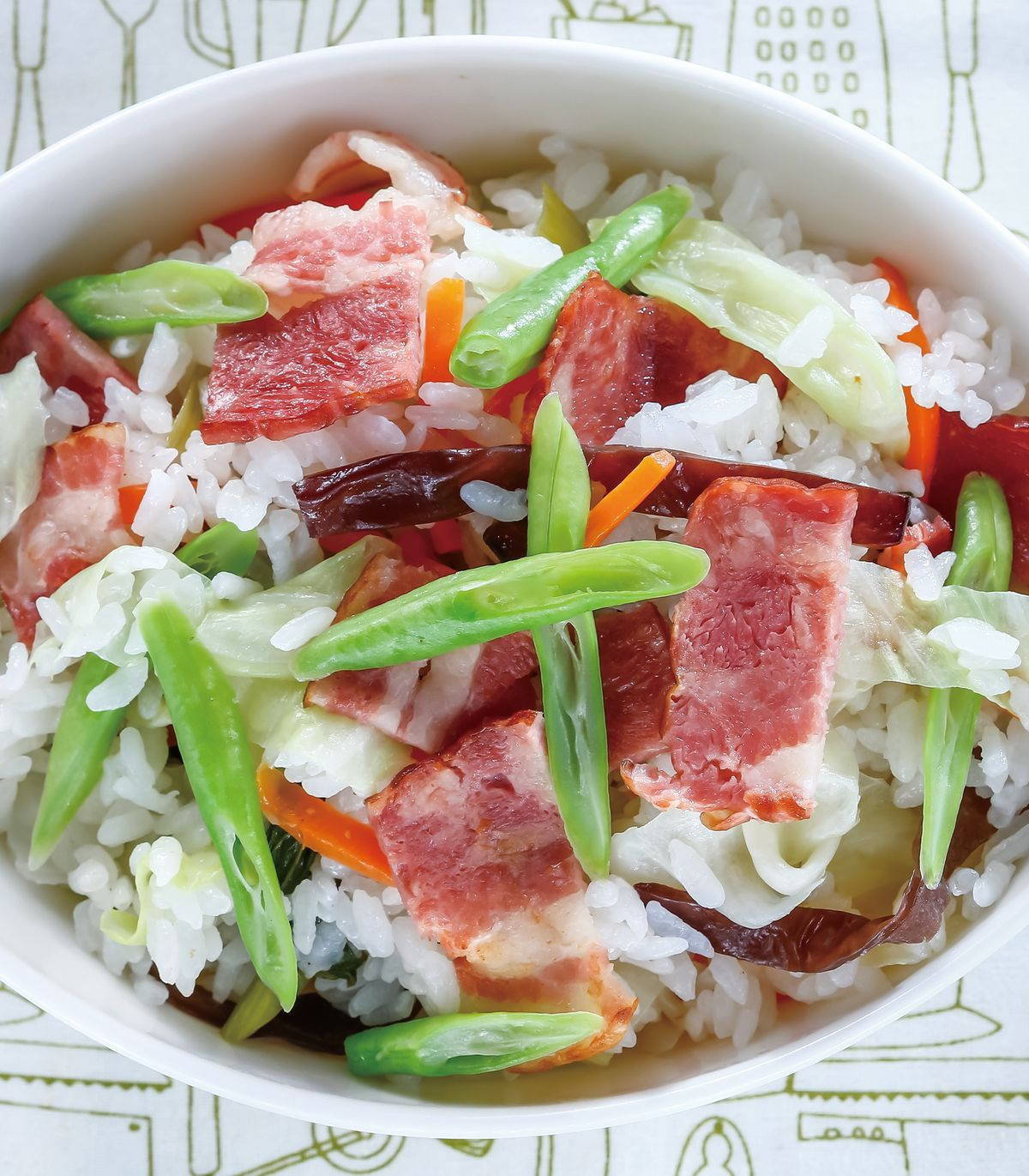 食譜:培根四季野菜炊飯