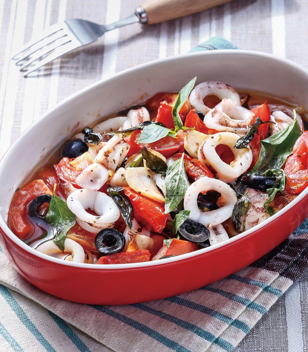 食譜:番茄羅勒烤魷魚