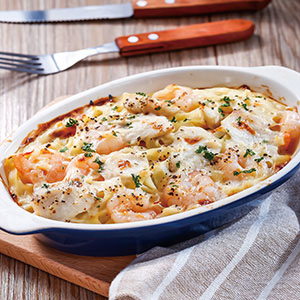 奶油海鮮焗寬麵