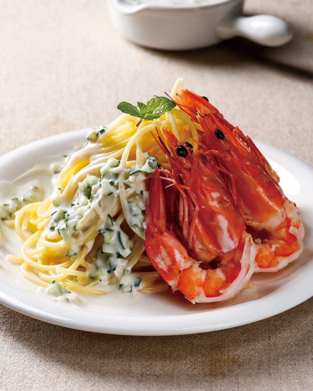 食譜:黃瓜優格醬鮮蝦冷麵