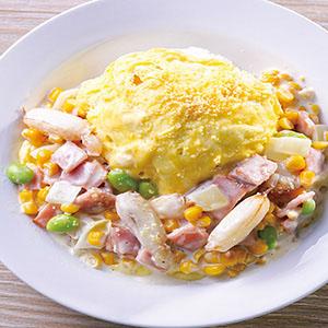 奶油玉米火腿嫩蛋包飯