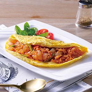 茄汁蝦仁蘆筍薄蛋包飯