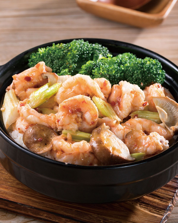 食譜:西芹蝦球煲飯