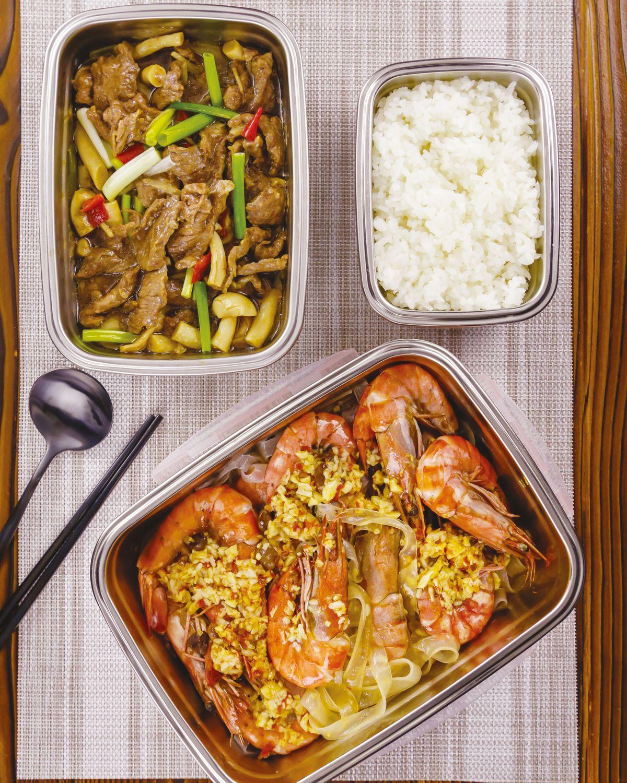 食譜:酒釀蒸蝦蠔油牛肉便當