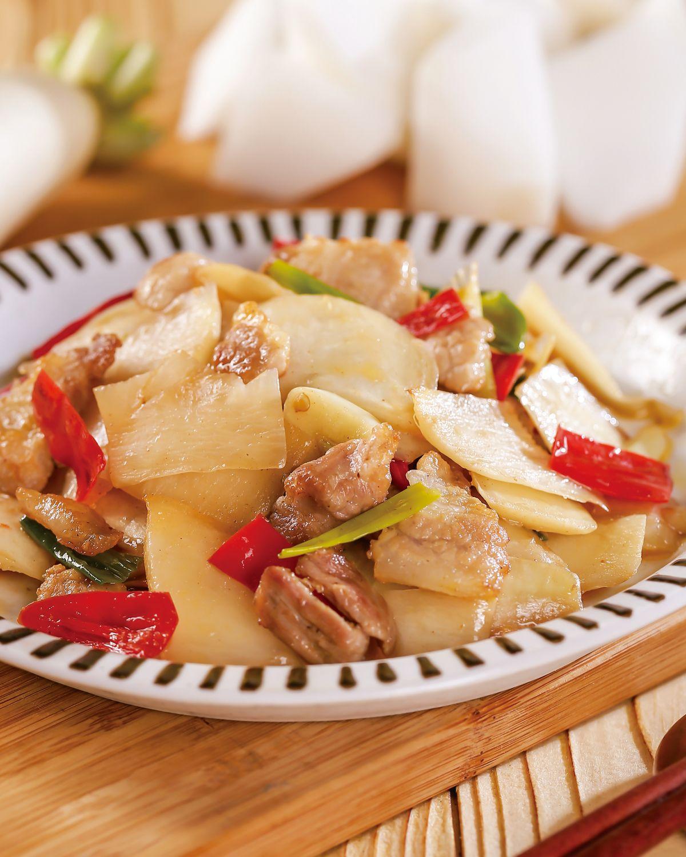 食譜:肉片炒蘿蔔皮