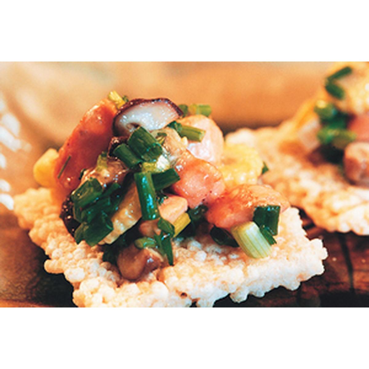食譜:鍋巴鮭魚小點心