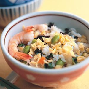野菜草蝦拌飯