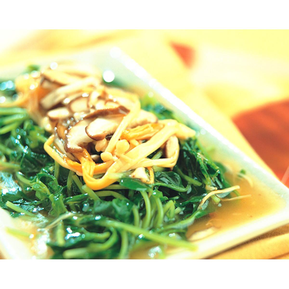 食譜:雙菇燴豆苗