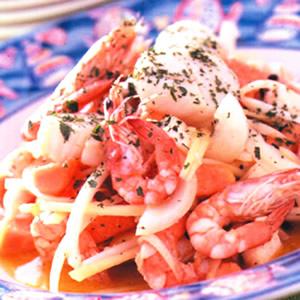 海鮮木瓜沙拉拌檸檬橄欖油