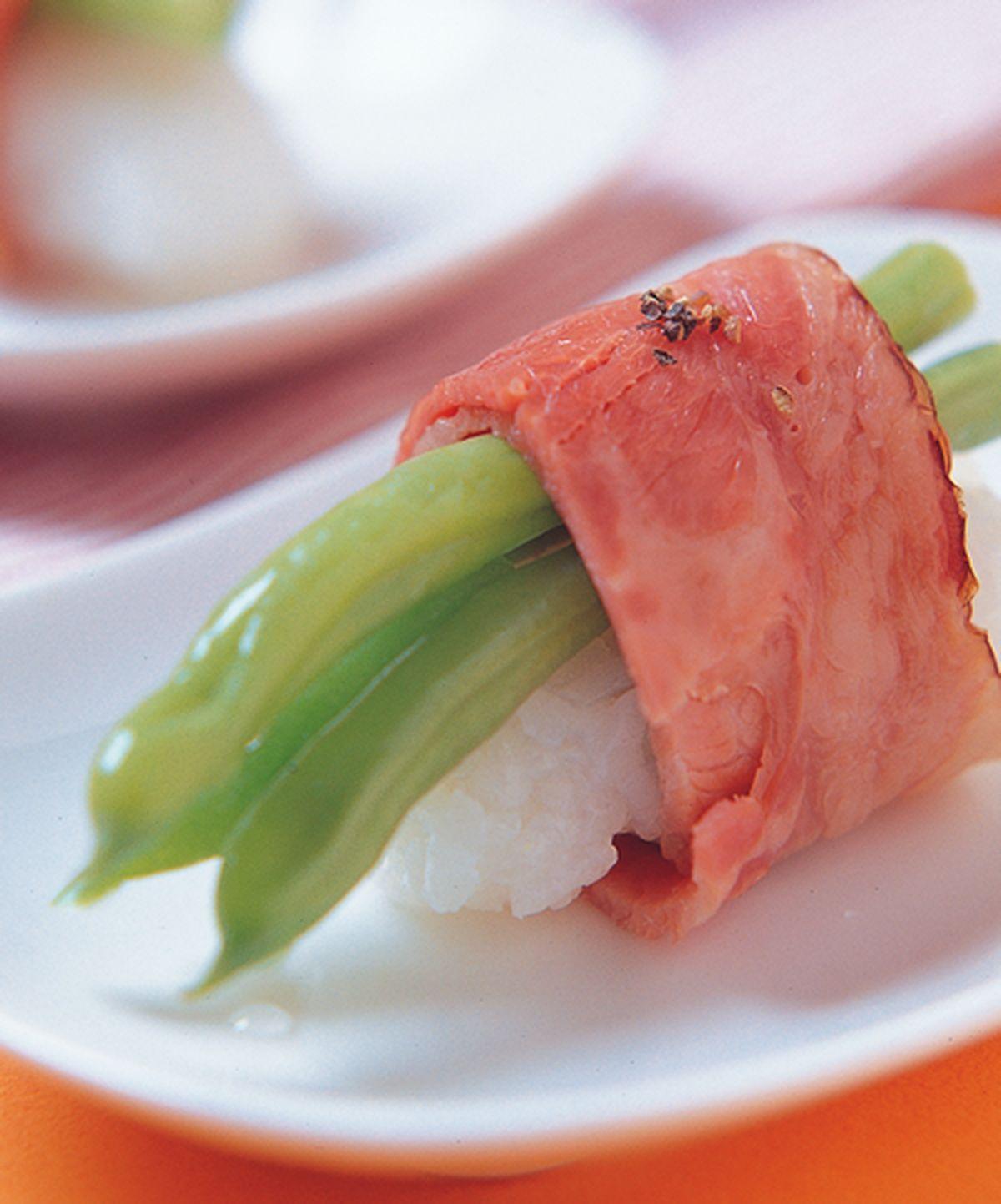 食譜:培根四季豆握壽司