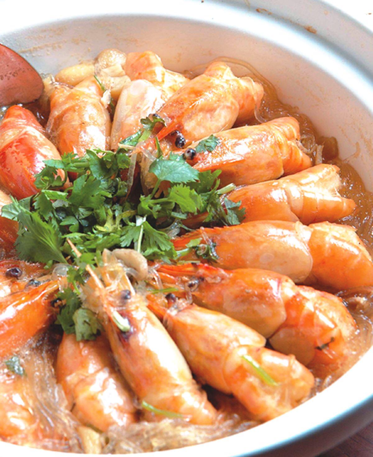 食譜:鮮蝦粉絲煲