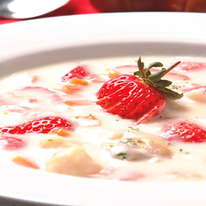 鮮貝醇香草莓巧達湯