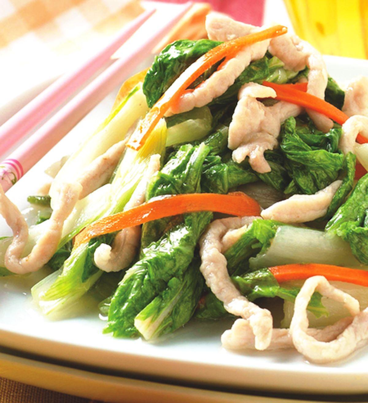 食譜:肉絲炒小白菜