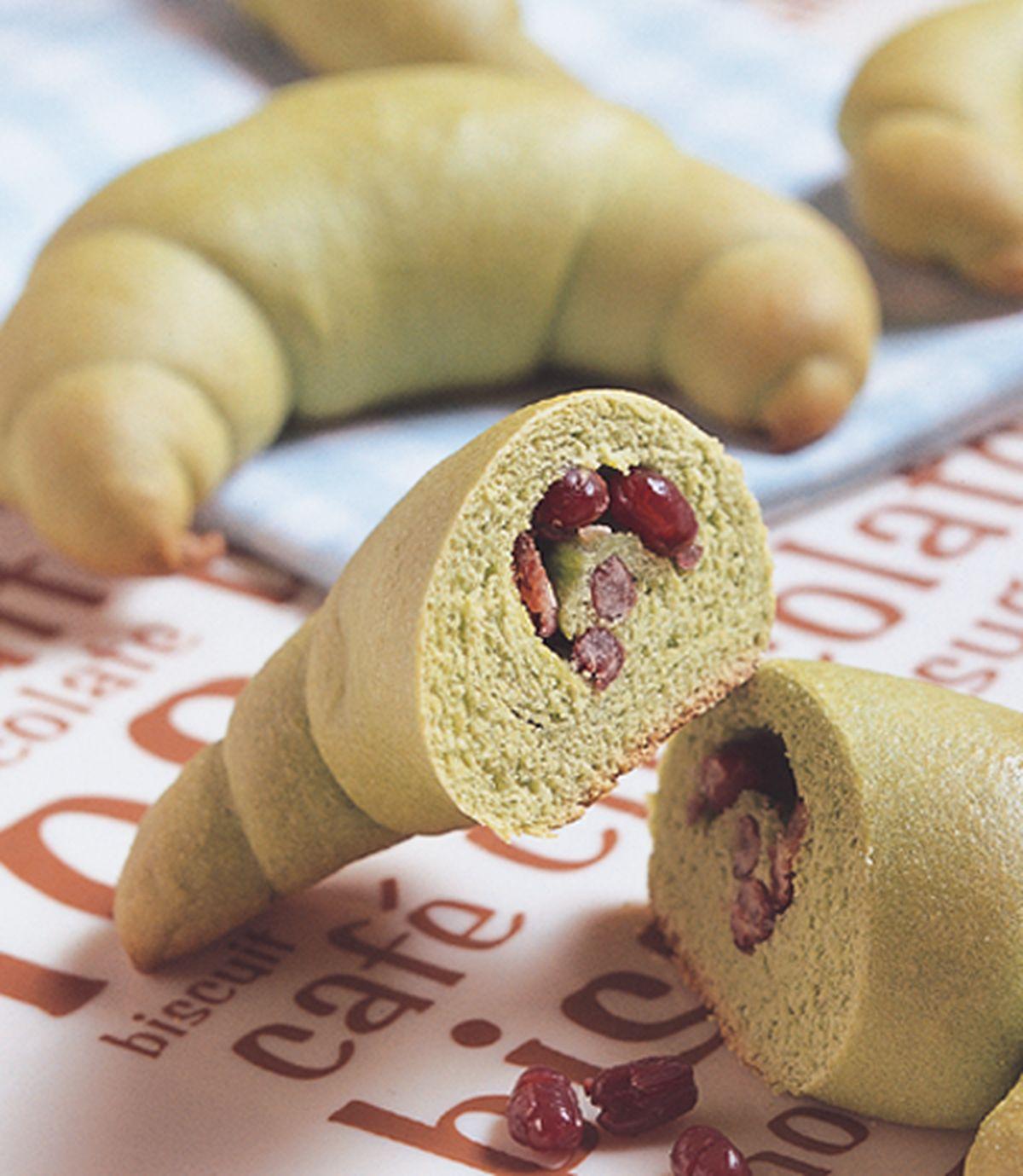 食譜:抹茶紅豆牛角麵包