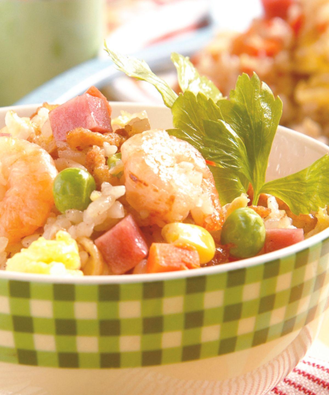 食譜:蝦仁火腿炒飯