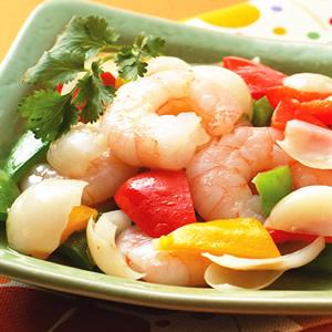 百合彩椒炒蝦仁