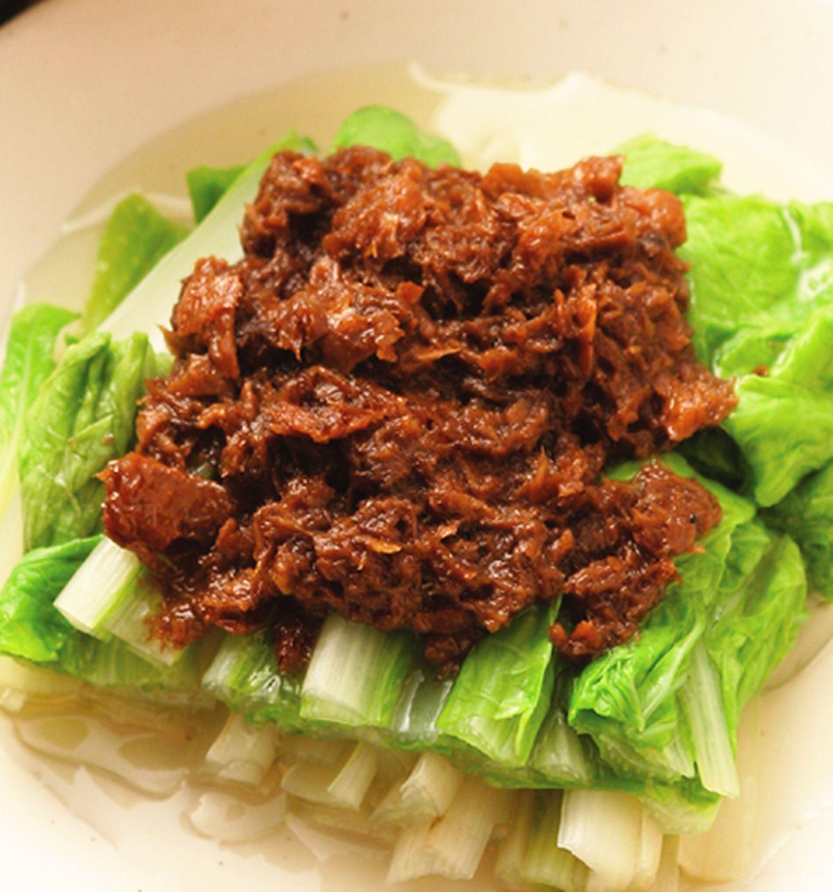 食譜:素肉燥拌小白菜