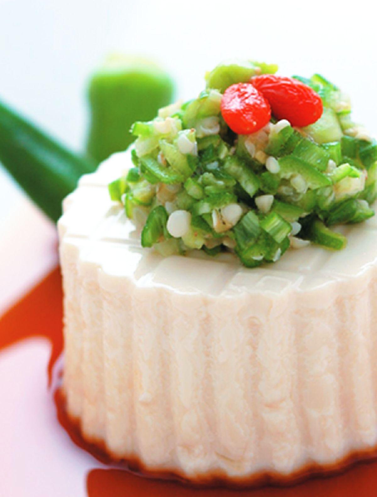 食譜:秋葵拌豆腐