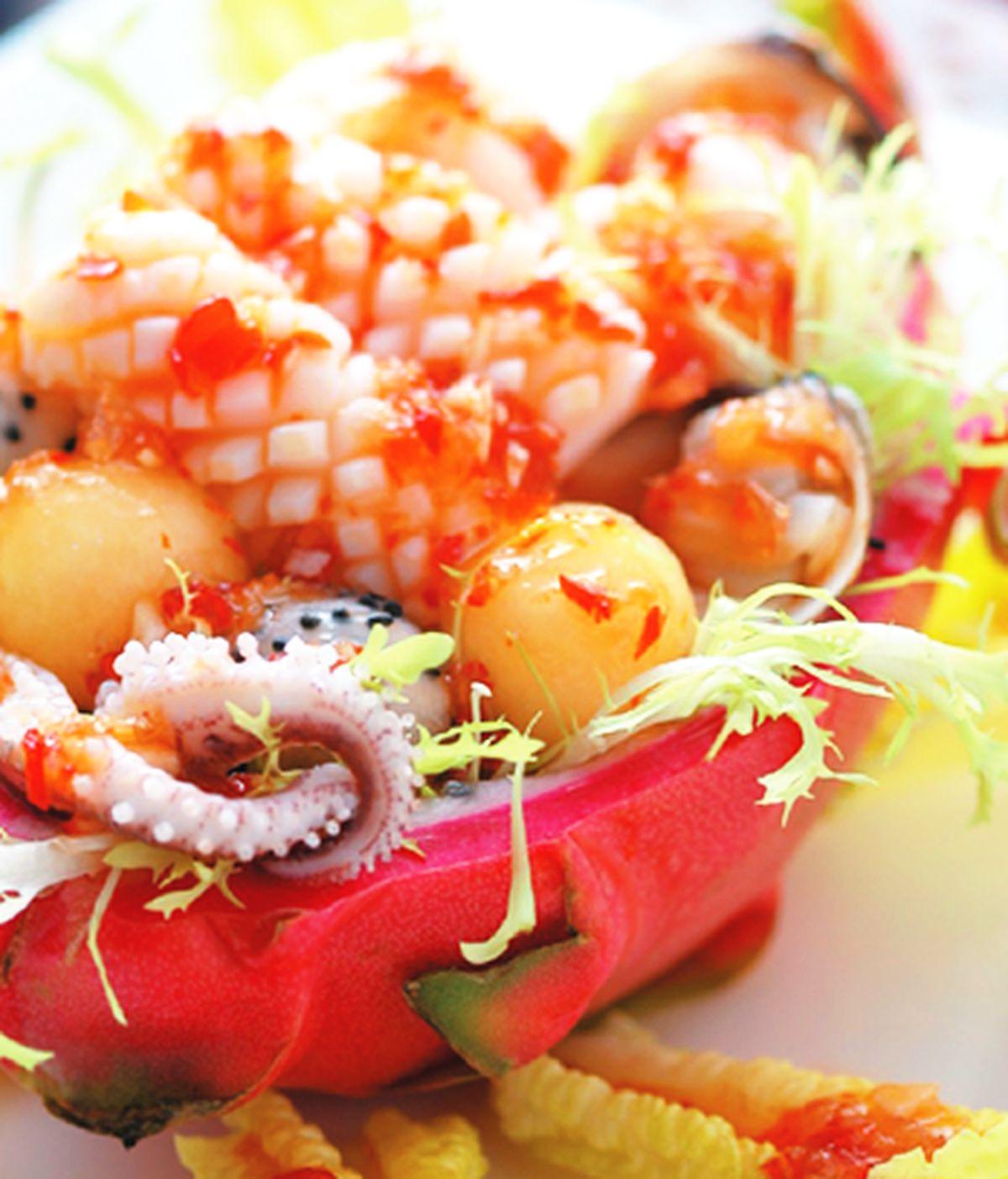 食譜:火龍果海鮮盒