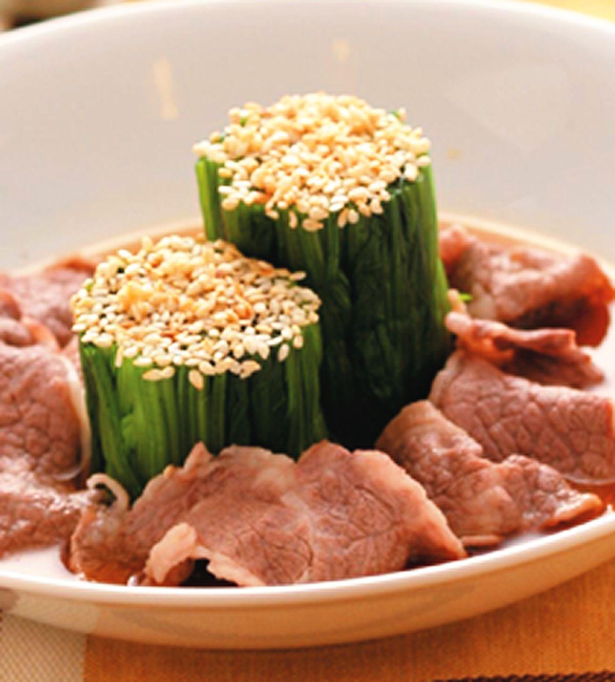 食譜:涼拌芝麻菠菜牛肉片
