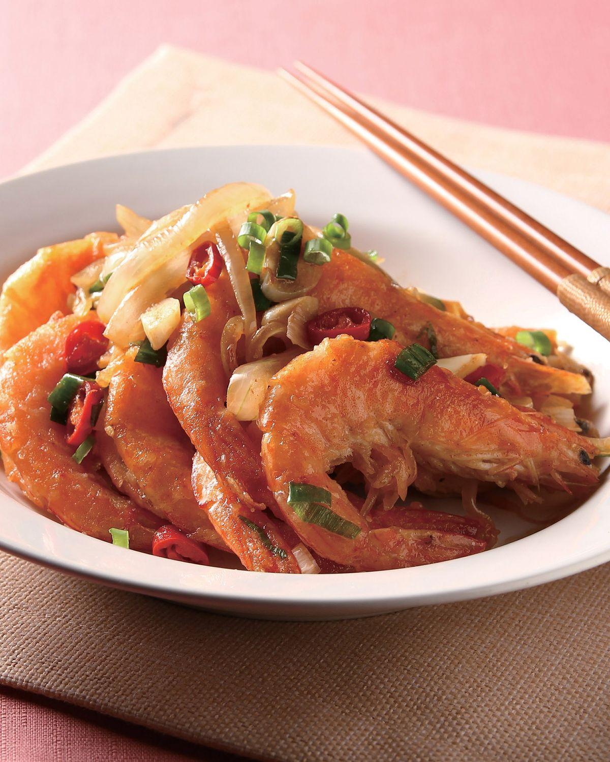 食譜:蔥爆鮮蝦