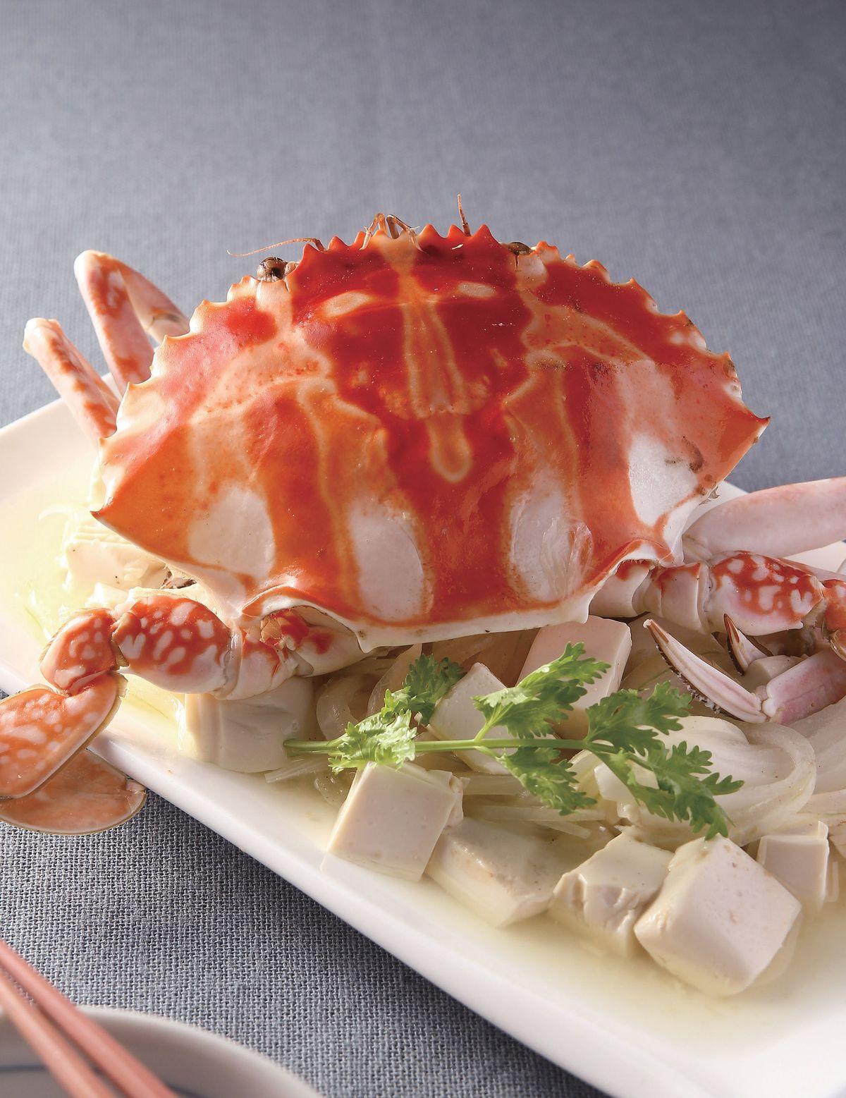 食譜:螃蟹蒸豆腐