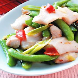 甜豆炒魚片