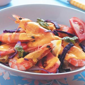 蝦仁優酪蔬果莎拉