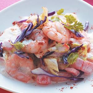 蝦仁優酪蔬果沙拉