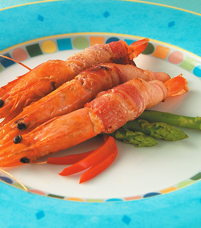 食譜:白酒鮮蝦培根捲
