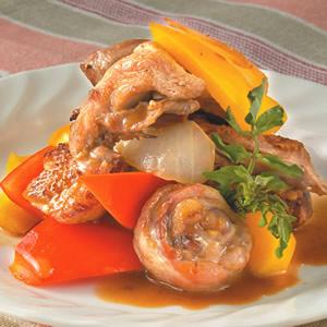 雙色甜椒燴雞肉
