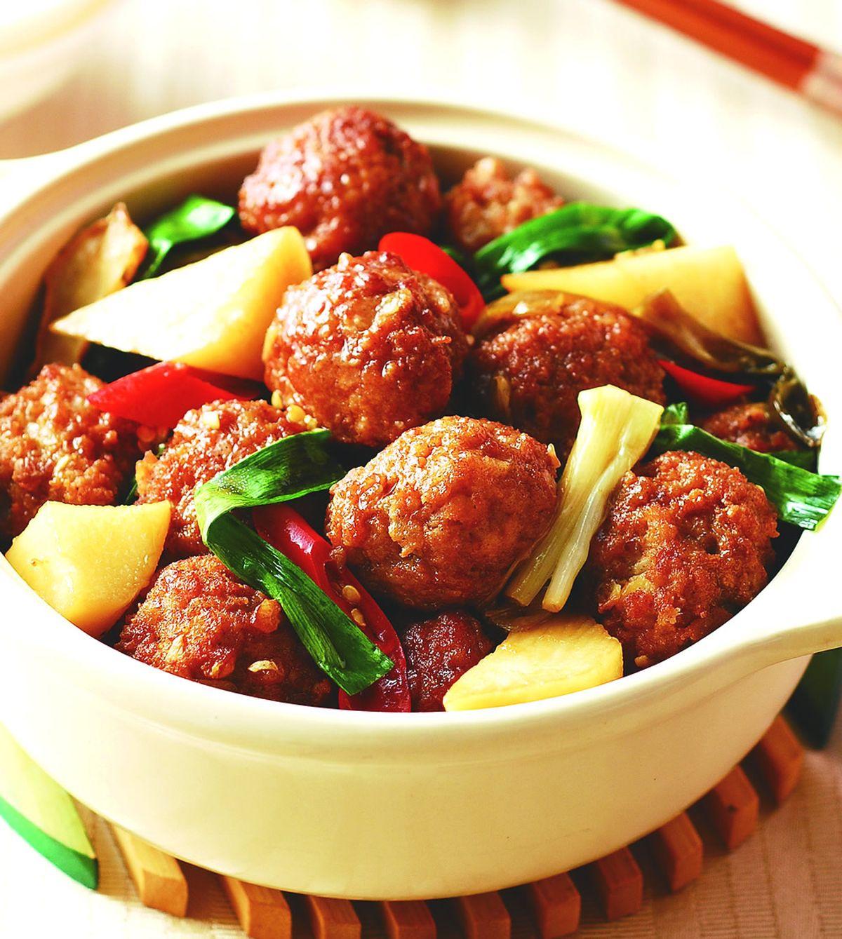 食譜:蔥燒滷肉丸