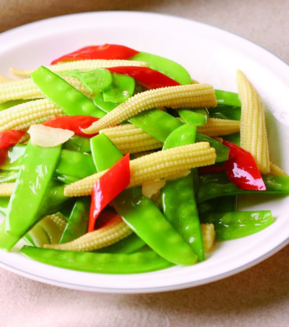 食譜:玉米筍炒豌豆