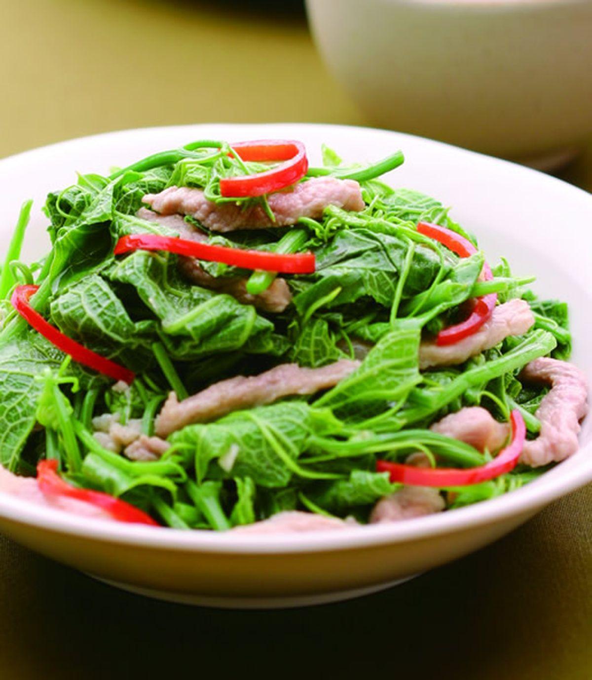 食譜:龍鬚菜炒肉絲(1)