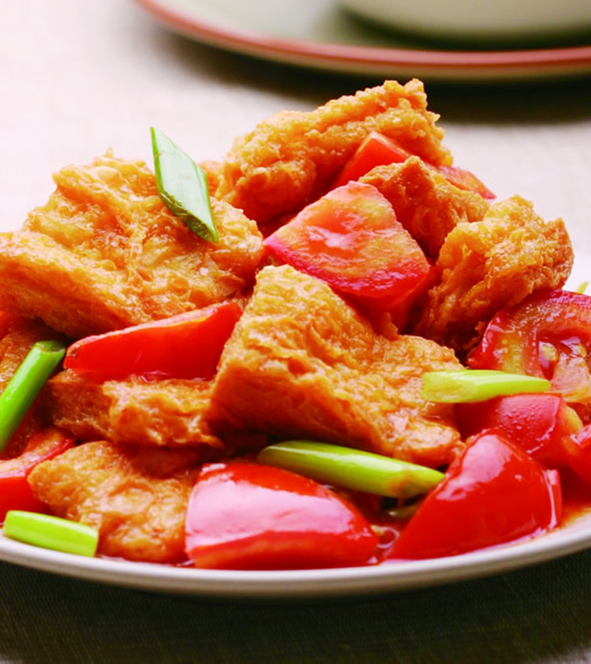 食譜:蕃茄炒豆包(1)