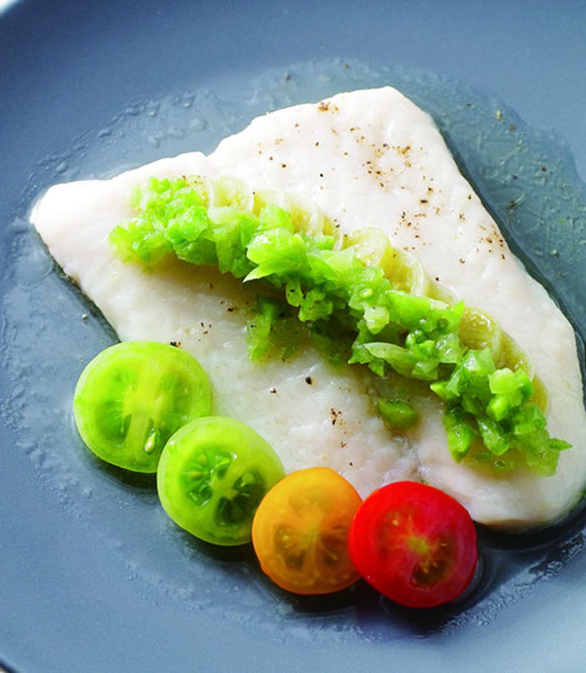 食譜:綠蕃茄蒸鯛魚