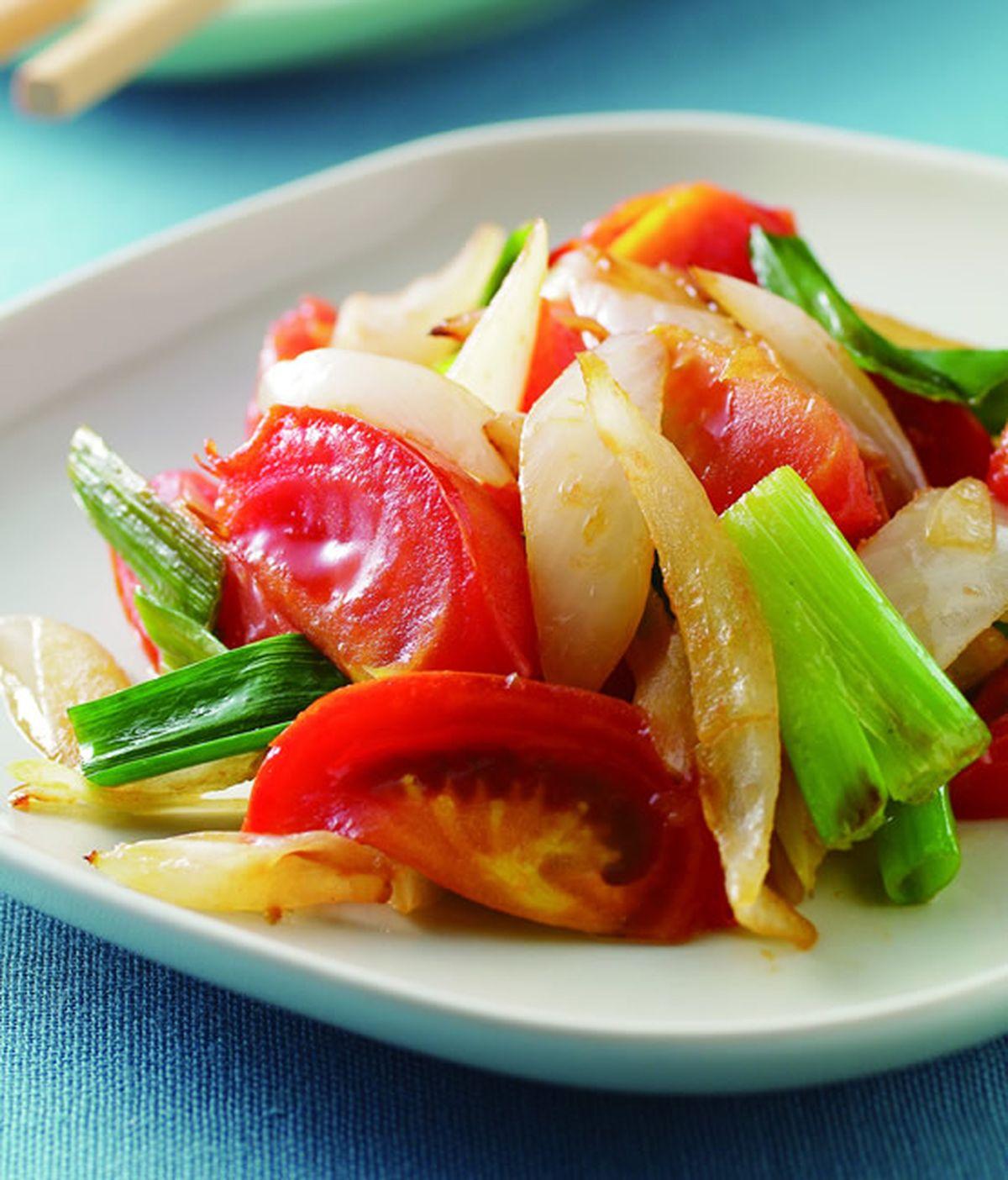 食譜:雙蔥炒蕃茄