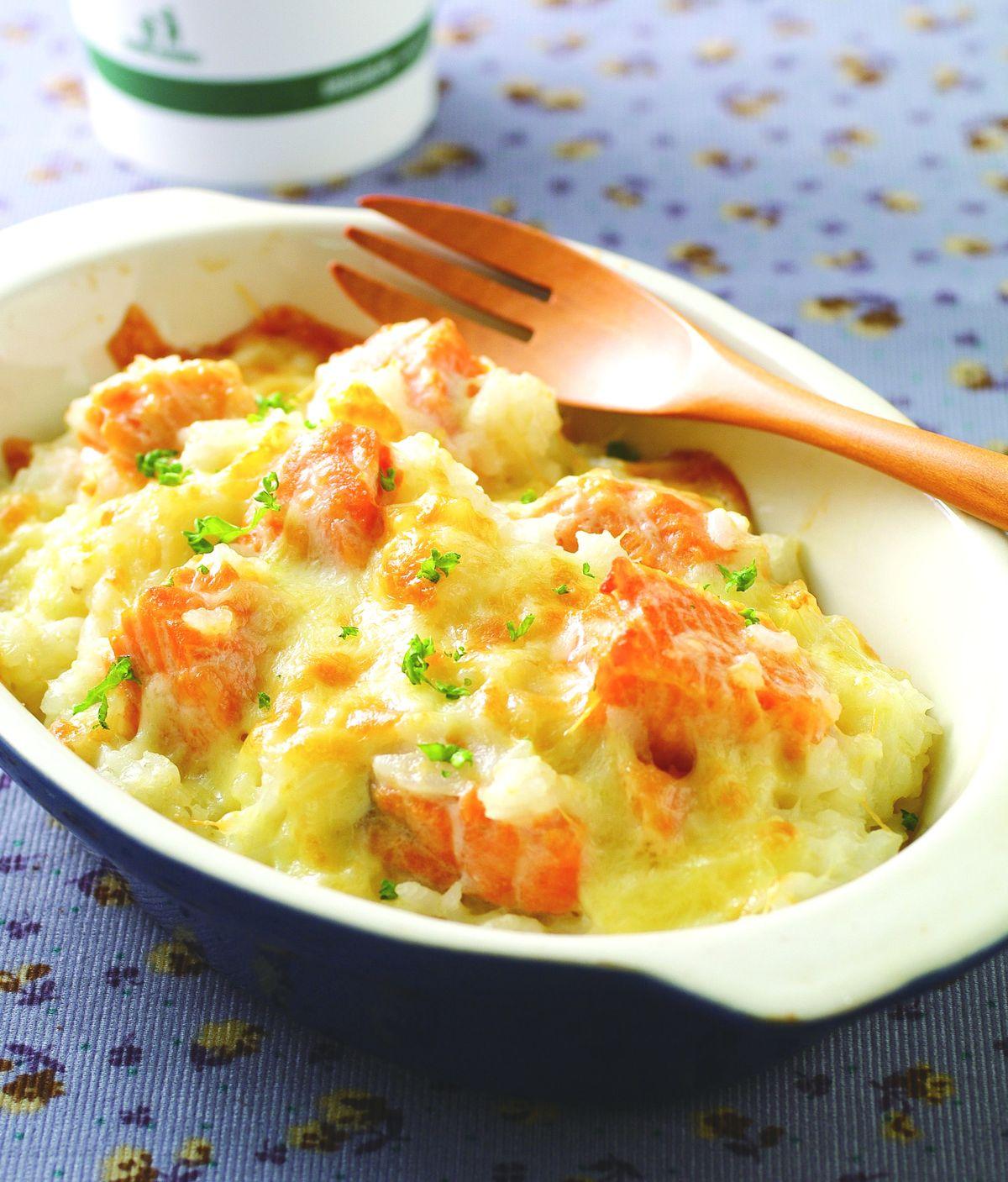 食譜:奶油鮭魚焗飯