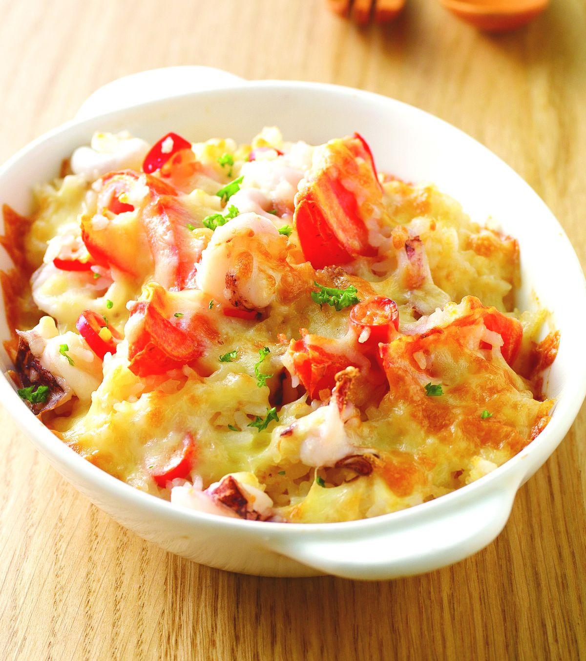 食譜:辣味中卷蕃茄焗飯