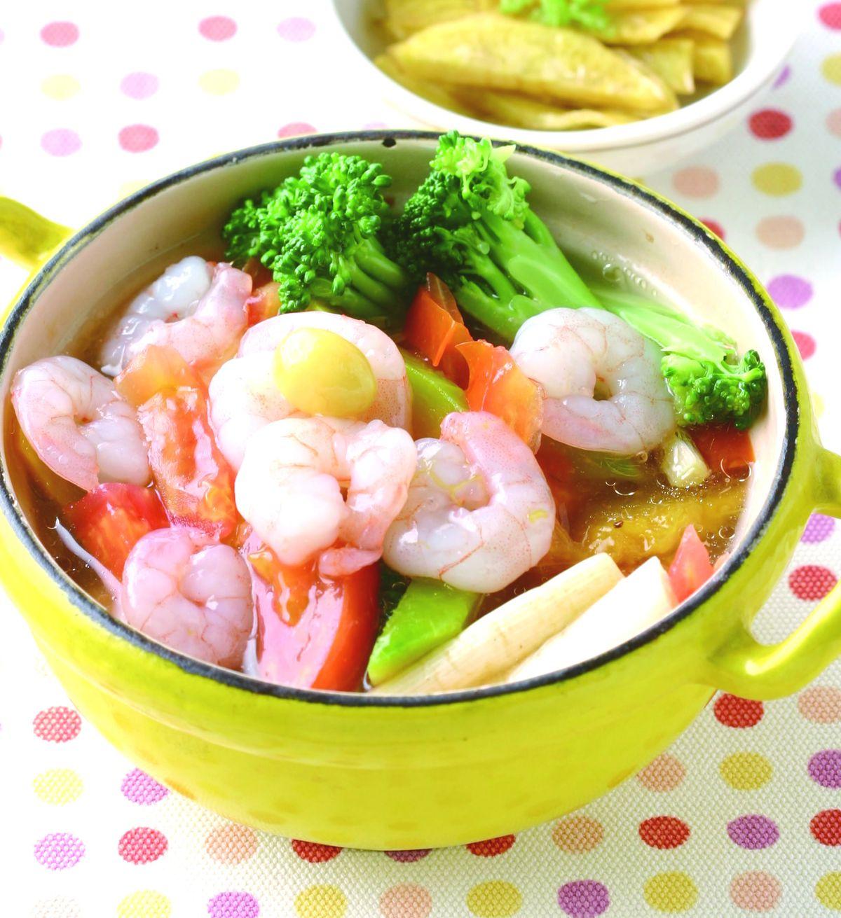 食譜:蝦仁雜菜煲