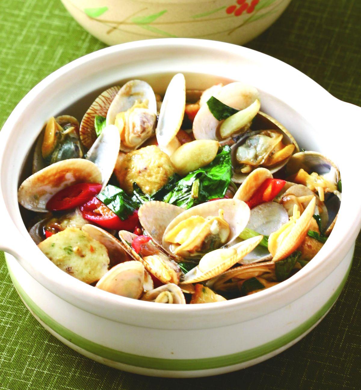 食譜:塔香海瓜子煲