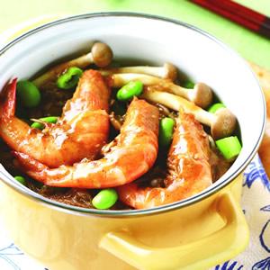 草蝦鮮菇冬粉煲