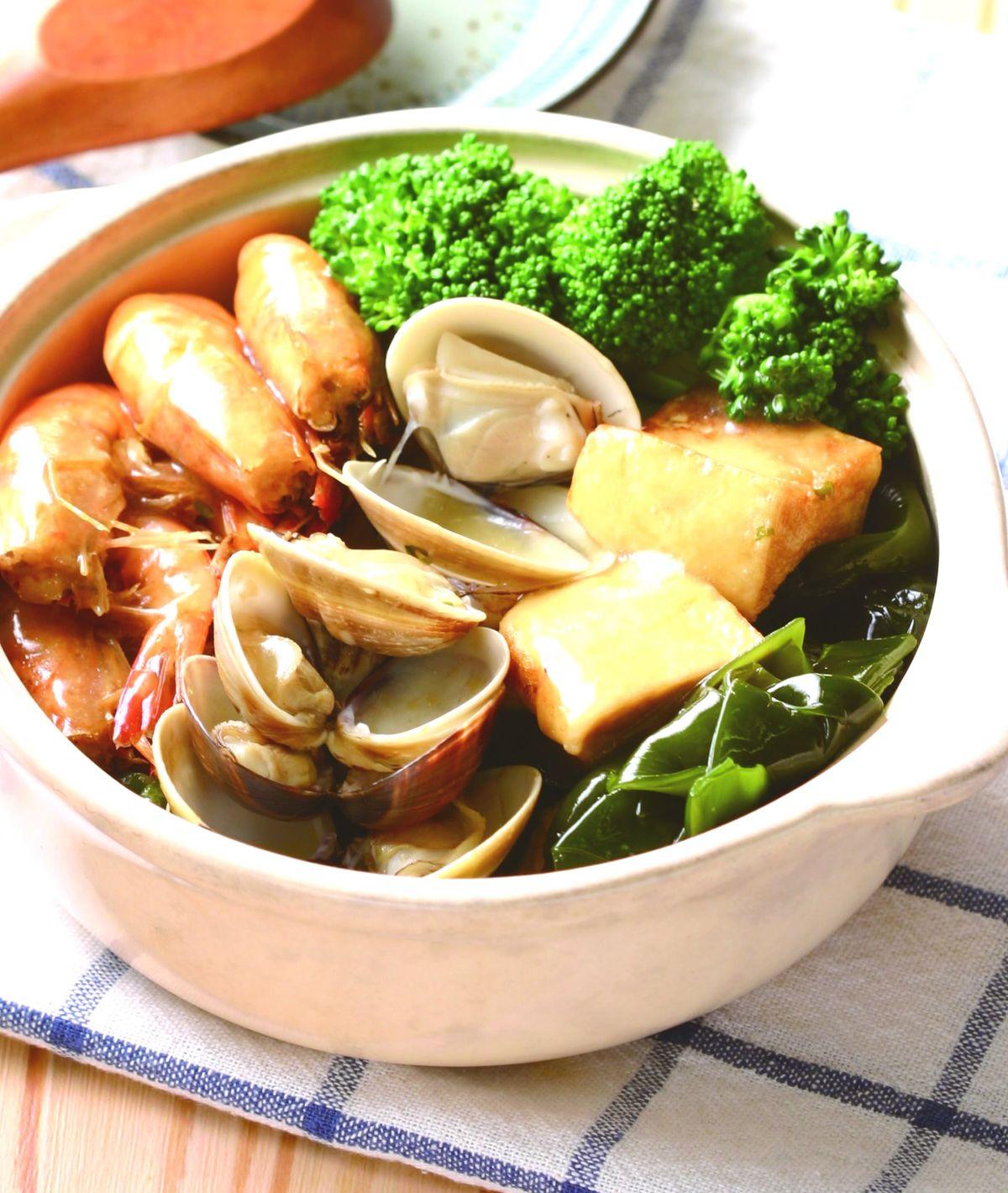 食譜:海帶鮮蝦豆腐煲